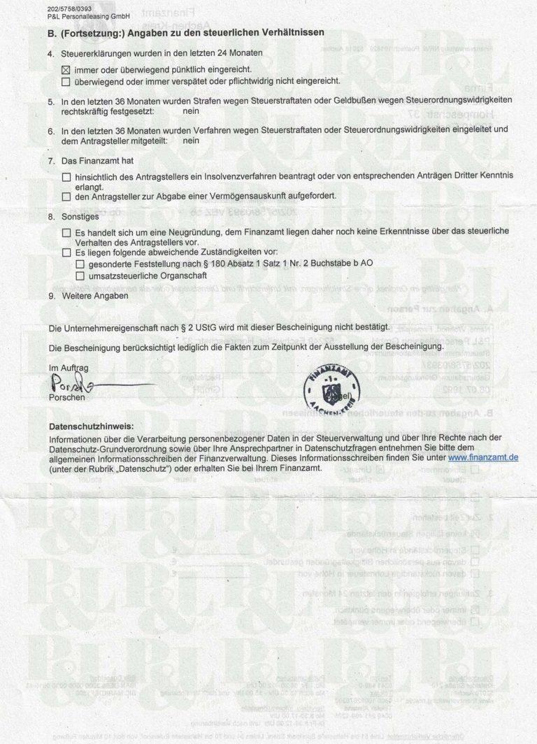 P&L Bescheinigung Finanzamt 2021 Seite2