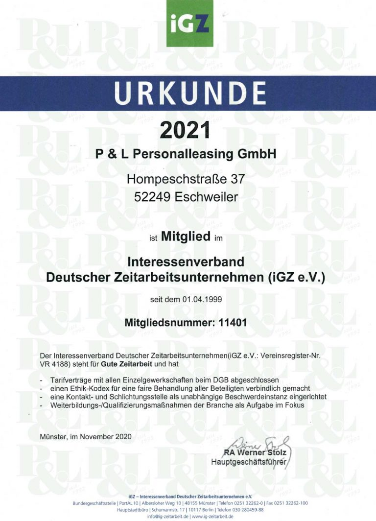 P&L IGZ e.V. Bescheinigung